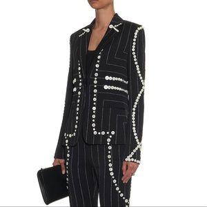 Edun Pinstripe Button Trim Blazer Jacket